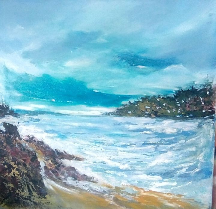 """Painting titled """"One big lake"""" by Mociart, Original Art, Oil"""