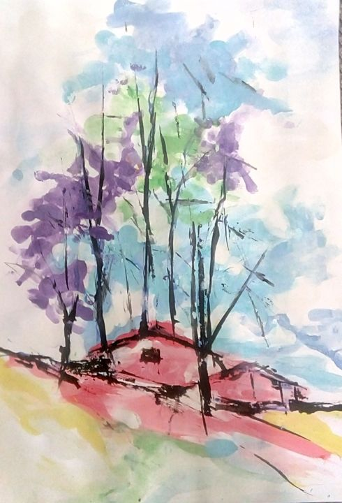 """Painting titled """"Two red haus in the…"""" by Mociart, Original Art, Watercolor"""