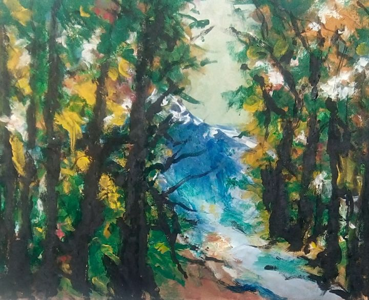 """Painting titled """"On the road to the…"""" by Mociart, Original Art, Acrylic"""