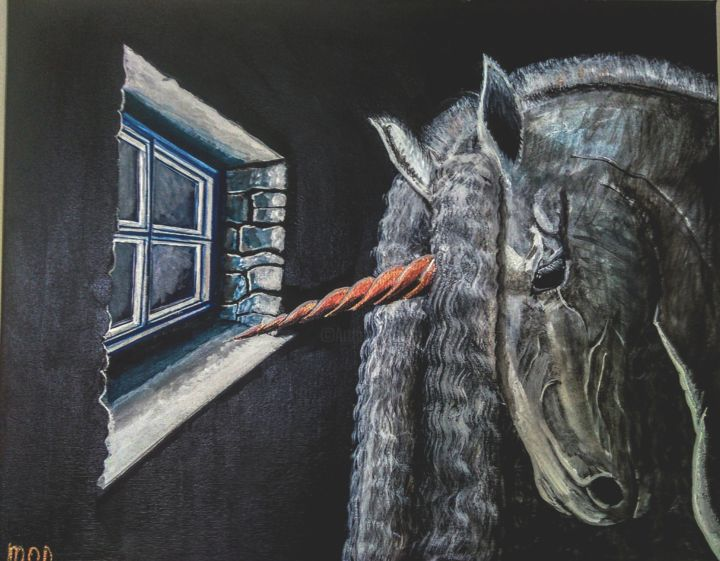 """Painting titled """"The Visitor"""" by Mick Odonnell, Original Art, Acrylic"""