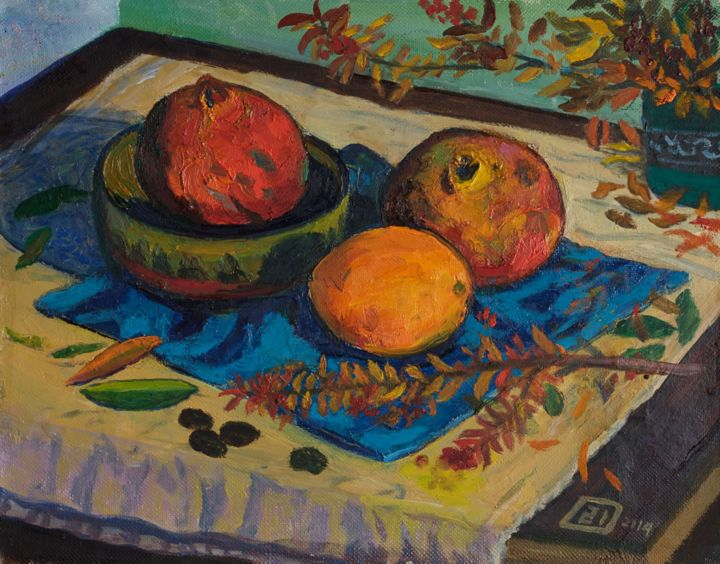 Pomegranates And An Orange Painting By Moesey Li Artmajeur