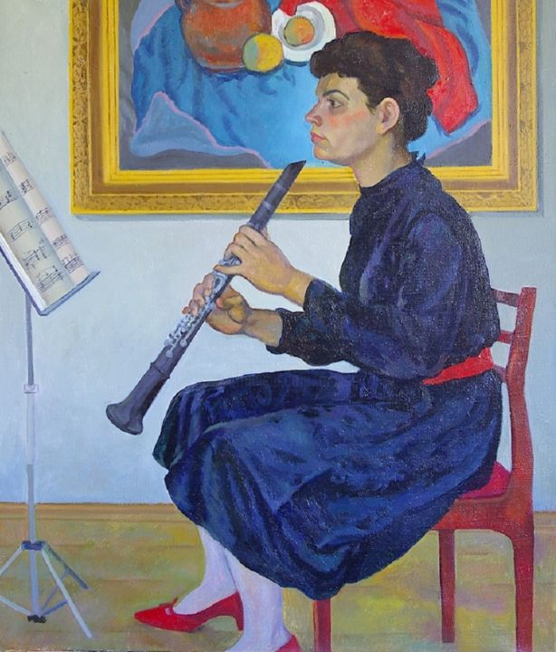 Repetition - Painting,  39.4x33.5 in, ©1983 by Moesey Li -                                                                                                                                                                                                                                                                                                                                                                                                                                                      Figurative, figurative-594, Women, Music, realism, genre painting, repetition, girl, musician