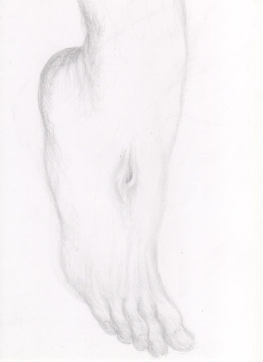 Le Pied du Christ - Drawing,  11.7x8.3 in, ©2014 by mohamed fezaa -