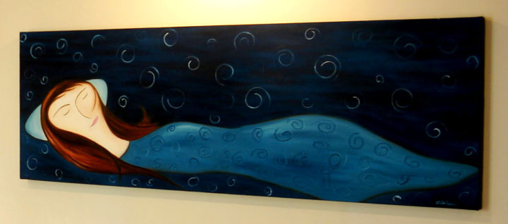 """Painting titled """"Sleep"""" by Mohammad Rokhsefat, Original Art, Oil"""