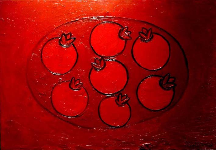 """Painting titled """"Pomegranate Plate"""" by Mohammad Rokhsefat, Original Art, Oil"""
