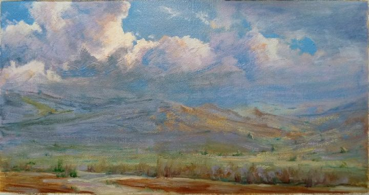 """Painting titled """"My Country Nature"""" by Sohrab Nakhkesh, Original Art, Oil"""