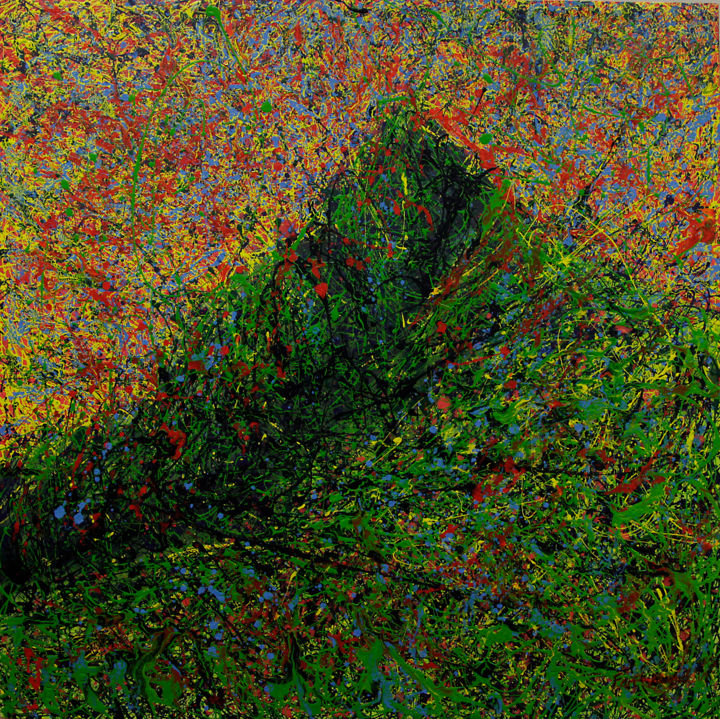 Kinabalu Spirit Series 4 - Painting,  125x125x5 cm ©2015 by Mohd Farit Azamuddin Musa -                                            Environmental Art, Nature, malaysia, malaisie, nature, malaisian, malaisien, montagne, mountain, 2D, brushes, pinceaux, vert, green, red, rouge, yellow, jaune, landscape, paysage, paint, acrylic, painting, peinture