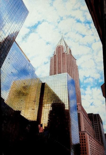 paysage urbain - Painting,  39.4x25.6 in, ©2010 by Yves Molac -                                                              paysage urbain