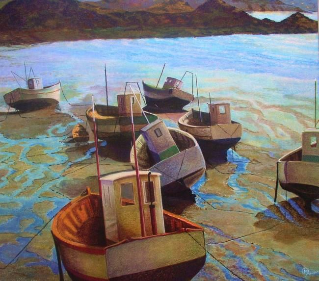 erquy - Painting,  27.6x27.6 in, ©2010 by Yves Molac -                                                              marine