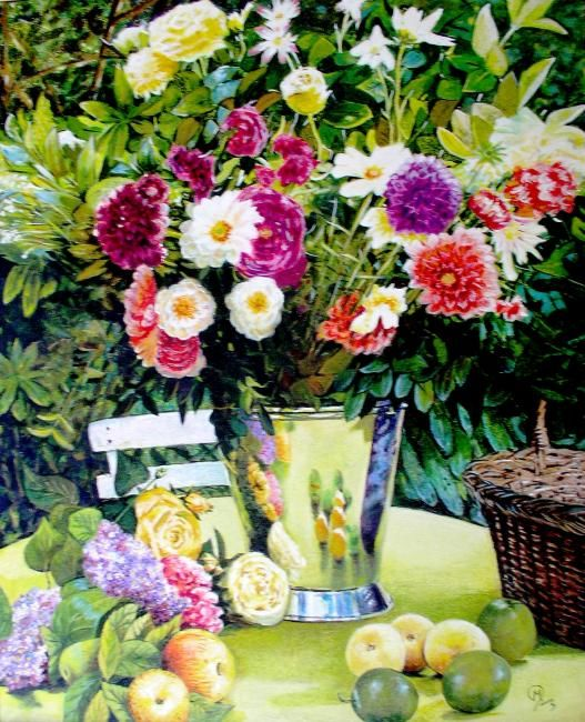 bouquet - Painting,  31.5x21.7 in, ©2010 by Yves Molac -                                                              mature morte