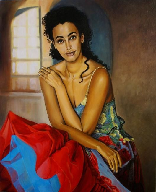 andalouse - Painting,  35.4x23.6x0.4 in, ©2011 by Yves Molac -                                                                                                                          Figurative, figurative-594
