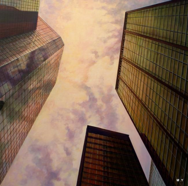 vertige - Painting,  39.4x39.4x0.4 in, ©2011 by Yves Molac -                                                              payssage urbain