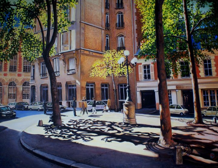dsc02941.jpg - Painting,  19.7x31.5x0.8 in, ©2016 by Yves Molac -                                                                                                                                                                          Figurative, figurative-594, Architecture