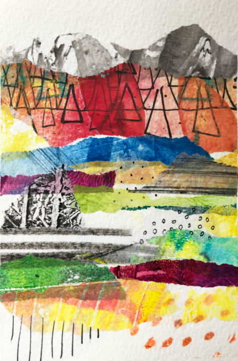Monotype - card012 - Printmaking,  5.9x4.1 in, ©2019 by Molk -                                                                                                                                                                                                                                                                                              Landscape, monotype, collage, paysage, coloré, graphique