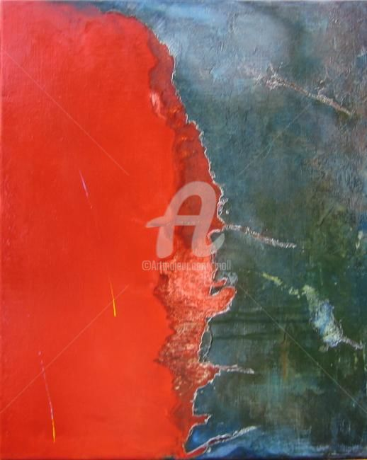 la Mer Rouge - Painting,  61x50 cm ©2006 by JEAN-MARIE MOLL -                            Abstract Art, Mer - Rouge - Abstrait