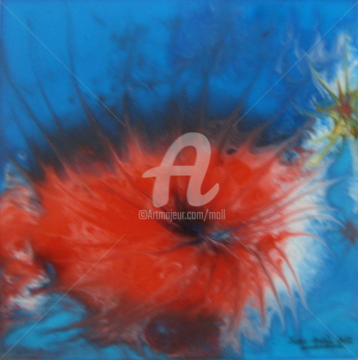 Volcan aquatique - Painting,  9.1x9.1x0.1 in, ©2019 by JEAN-MARIE MOLL -                                                                                                                                                                                                                                                                                                                                                                                                                                                                                                  Abstract, abstract-570, Abstract Art, Résine, Rouge, Bleu, Abstrait, Imaginaire, Volcan, Aquatique