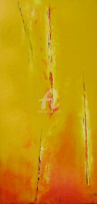 Sans titre - Painting,  100x50 cm ©2008 by JEAN-MARIE MOLL -                            Abstract Art, Jaune, rouge, imaginaire, abstrait