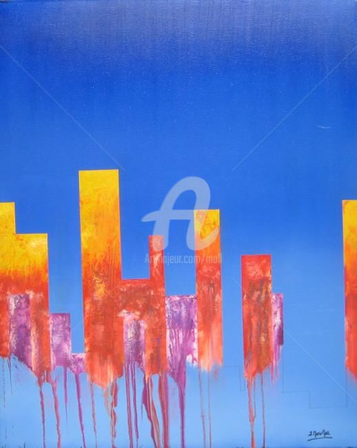 Les Tours infernales - Painting,  100x81 cm ©2009 by JEAN-MARIE MOLL -                            Abstract Art, Tours - Infernal - Abstrait - Feu