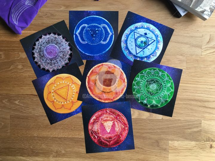 7 chakras - Lot de 7 photos, fond étoilé - Photography,  30x30 cm ©2018 by Mona BESSAA -                                                                            Colors, Geometric, Interiors, Light, Spirituality, mona bessaa, 7 chakras principaux, lot photos, mandala, yoga, méditation, India