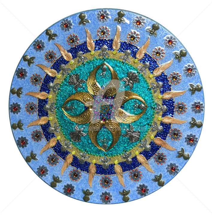 Om 30/108 - Angels blue - Painting,  15.8x15.8x0.4 in, ©2018 by Mona Bessaa -                                                                                                                                                                                                                                                                                                                                                                                                                                                                                                                                                                                                                                                                                                                                                          Wood, Pulpboard, Metal, Canvas, Glass, Angels, World Culture, Spirituality, Mona Bessaa, art, mandala, anges, Om, Aum, ronde, pierre