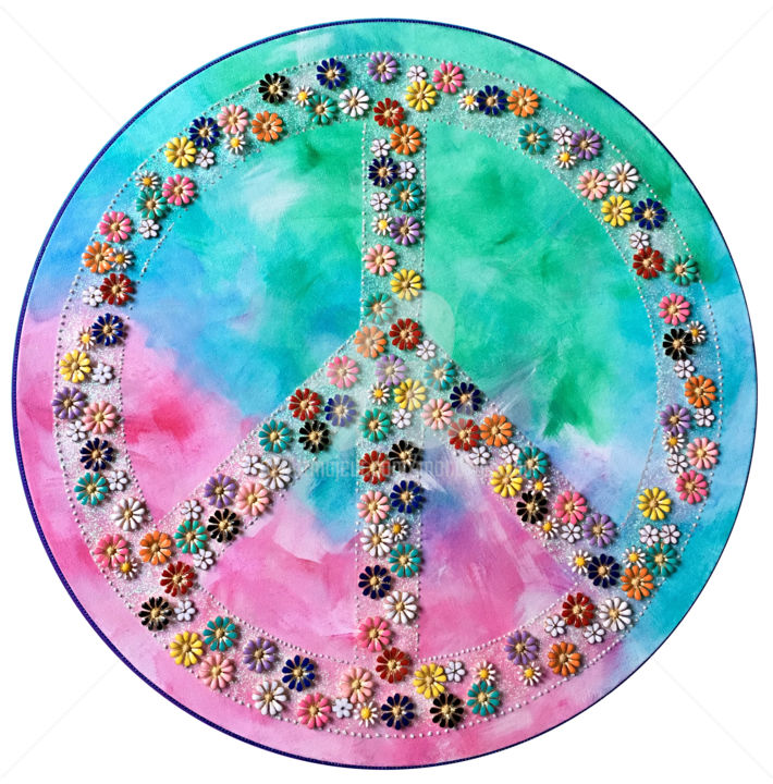 Peace and love - Mixed Media,  40x40x1 cm ©2019 by Mona BESSAA -                                                                                                                                    Contemporary painting, Wood, Pulpboard, Metal, Colors, Pop Culture / celebrity, World Culture, Flower, Spirituality, Mona Bessaa, art, peinture, symbole, mandala, peace and love, paix, amour