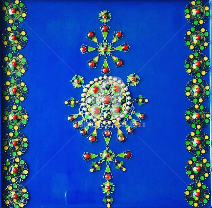 Kabyl blue - Painting,  11.8x11.8 in ©2019 by Mona BESSAA -                                                        Contemporary painting, Colors, World Culture, mona bessaa, mandala, kabyle, kabylie, Algérie, Orient, bleu, symbole