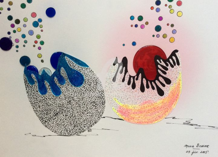 """Drawing titled """"Eclosion"""" by Mona Bessaa, Original Art, Marker"""