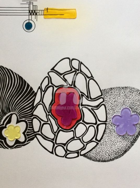 """Drawing titled """"Trois oeufs, trois…"""" by Mona Bessaa, Original Art, Marker"""