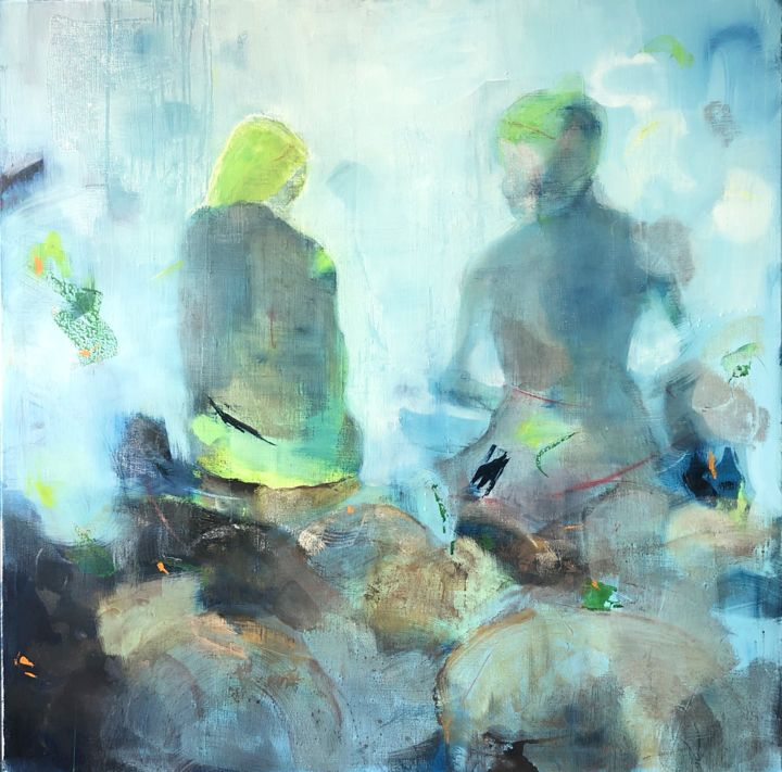 """Painting titled """"The Talk - Blue (To…"""" by Mona Hoel, Original Art, Oil"""