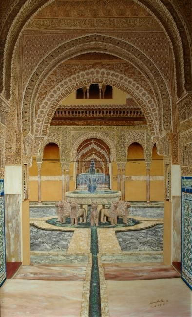 Patio de los Leones (Alhambra) - Painting,  48x29.5 in, ©2009 by MONCHOLC -                                                                                                                                                                          Abstract, abstract-570, Oleo sobre tabla