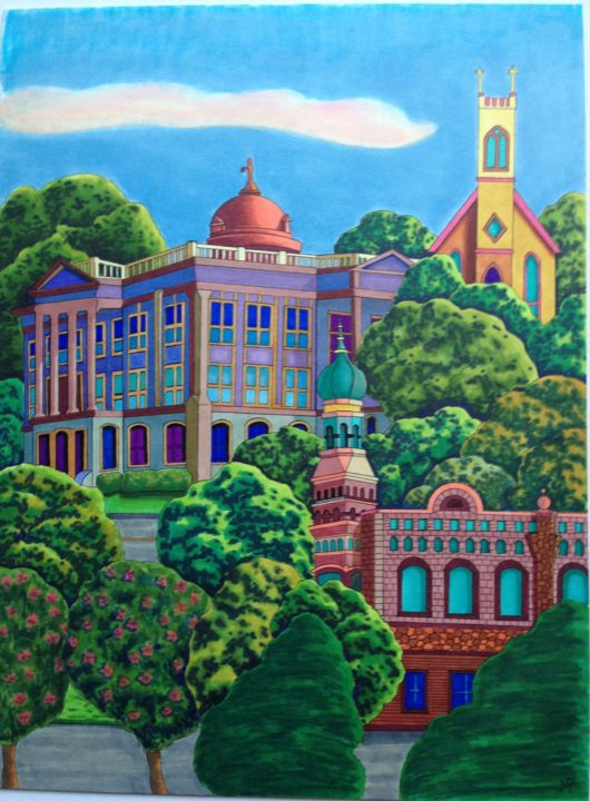 """Drawing titled """"Georgetown"""" by Monica Puryear, Original Art, Marker"""