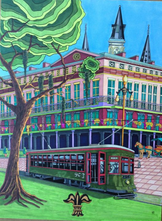 """Drawing titled """"New Orleans"""" by Monica Puryear, Original Art, Marker"""