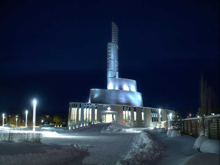 Eismeerkathedrale in Alta, Norwegen - Photography, ©2016 by Monika Cherkaoui -                                                                                                                                                                                                                                                                                                                                                                                                                                                                                                                                                                                                                                                                                                                                                                          Hyperrealism, hyperrealism-612, Abstract Art, Architecture, Cities, Cathedrale, Kirche, Abstrakt, Abstract, Nightshot, Nachtaufnahme, Moderne Kunst, Modern Art, Architecture, Alta, Norwegen