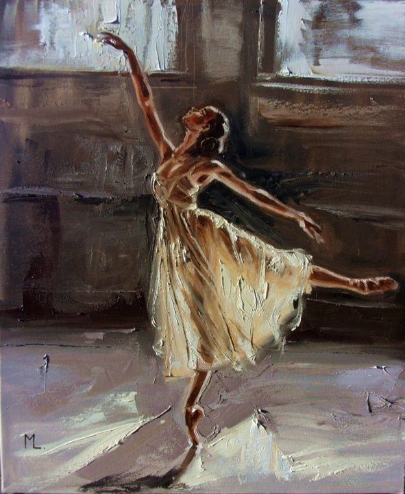DREAM - Painting,  23.6x19.7x0.8 in, ©2017 by Monika Luniak -                                                                                                                                                                                                                                                                                                                  Figurative, figurative-594, People, BALLET, DANCE, LIGHT