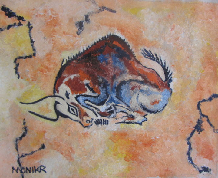 Ode To The Greatest Artist of All Time - Painting,  12x15x0.75 in ©19 by MonikR -                                            Figurative Art, Animals, rehistoric, cave, ode, bull, figurative