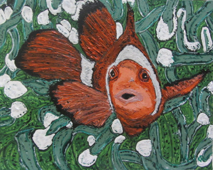 """Painting titled """"Bruce the Clownfish…"""" by Monikr, Original Art, Oil"""