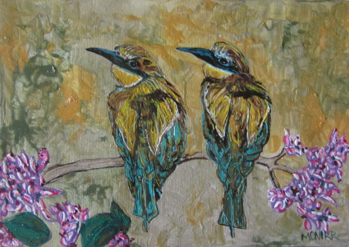 """Painting titled """"European Bee Eaters"""" by Monikr, Original Art, Acrylic"""