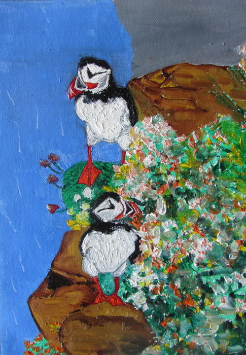 """Painting titled """"Puffins"""" by Monikr, Original Art, Oil"""