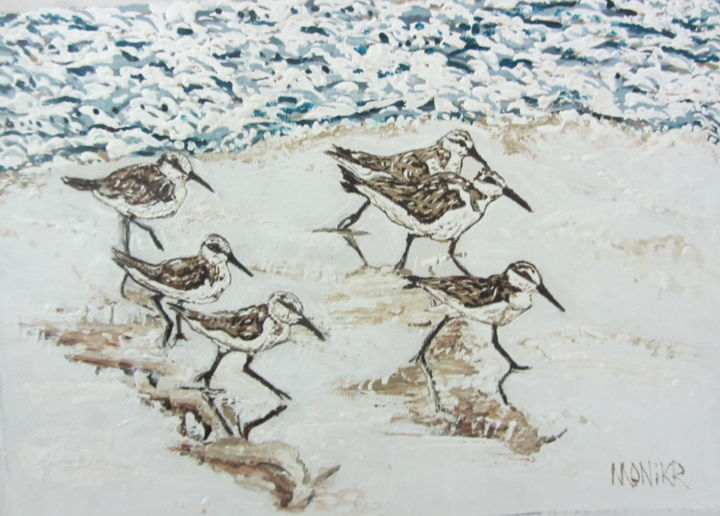 """Painting titled """"Sandpipers"""" by Monikr, Original Art, Acrylic"""