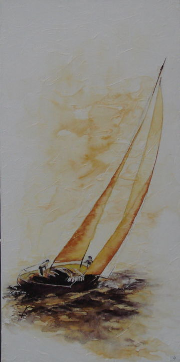 TEMPETE - Painting,  31.5x15.8 in, ©2015 by Monique Darry -                                                              Sailboat