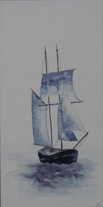 BON VENT1 - Painting,  80x40 cm ©2015 by Monique Darry -                                        Canvas, Sailboat