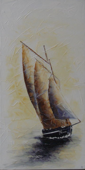 souvenirs.jpg - Painting,  31.5x15.8 in, ©2015 by Monique Darry -                                                              Sailboat