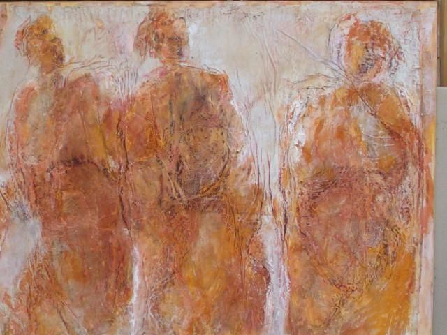 foule - Painting,  115x148 cm ©2004 by Catherine Monmarson -
