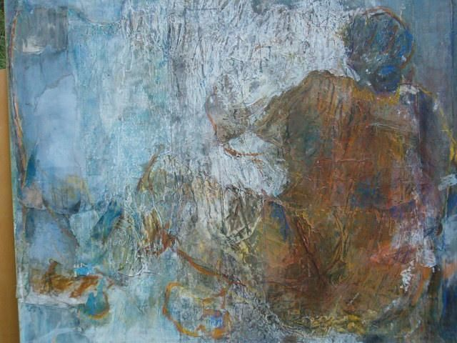 Sans ancrage - Painting,  130x162 cm ©2004 by Catherine Monmarson -