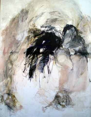 TETE BAISSEE - Painting,  116x89 cm ©2010 by Catherine Monmarson -