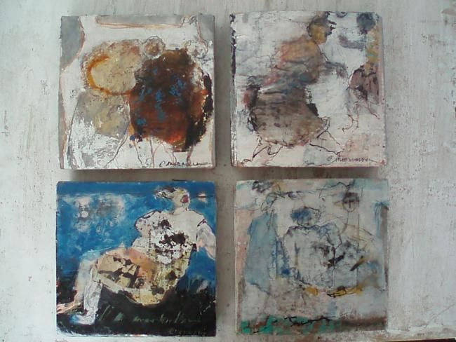 cartons compresses - Painting,  20x20 cm ©2012 by Catherine Monmarson -