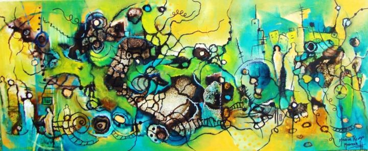 Diálogo con mi Conciencia - Painting,  23.6x47.2 in, ©2014 by Monokka -                                                                                                                                                                          Abstract, abstract-570, Abstract Art