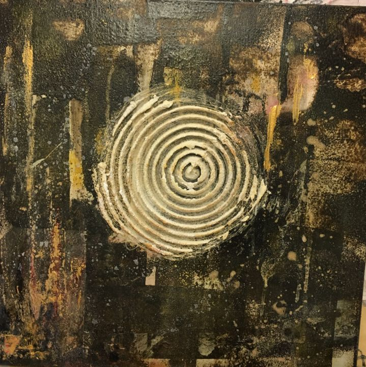 The Circle.jpeg - Painting,  15.8x15.8x0.6 in ©2019 by Montserrat Llusia -                                                            Abstract Art, Other, Abstract Art, Cercle, Circle, goudron, collage, or