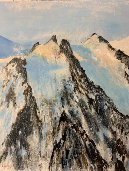 """Painting titled """"L'aiguille du midi…"""" by Montserrat Llusia, Original Art, Acrylic Mounted on Stretcher frame"""