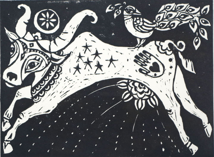 """Printmaking titled """"The cow who jumped…"""" by Penny Wright, Original Art, Linocuts"""